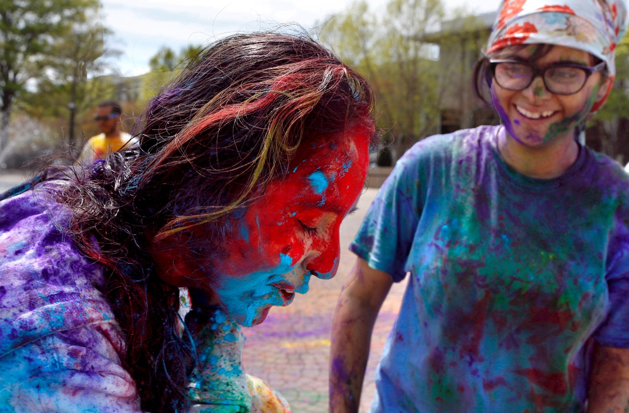 across campus a photo essay acirc  roohi patel gets a face full of colored powder from sonia ramrakhiani during the asian water