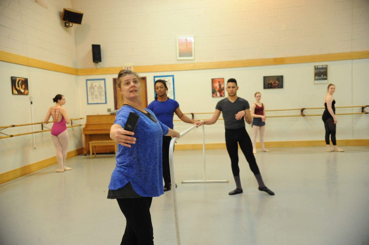 across campus a photo essay acirc  dance instructor students prepare to learn new dance combinations in dance 4 and 5