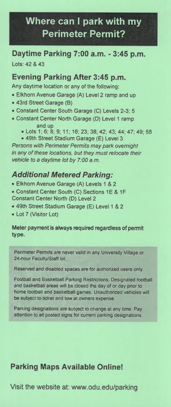 Odu Campus Map Pdf.Student Parking Old Dominion University